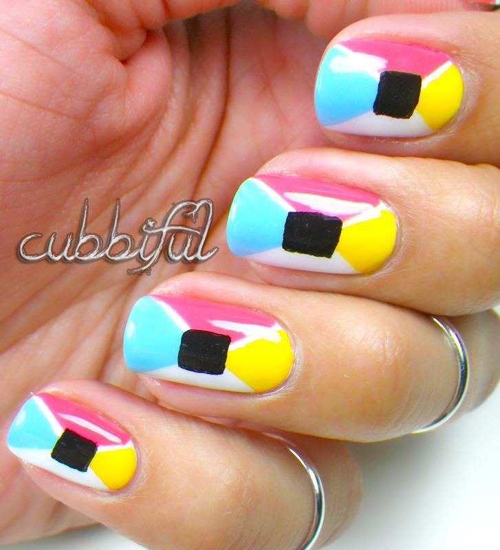 Spring Geometrical nail art by Cubbiful