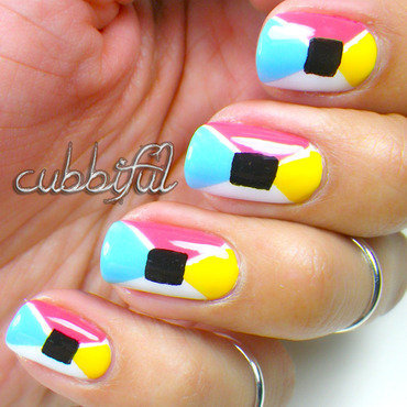 Spring Geometrical nail art by Cubbiful