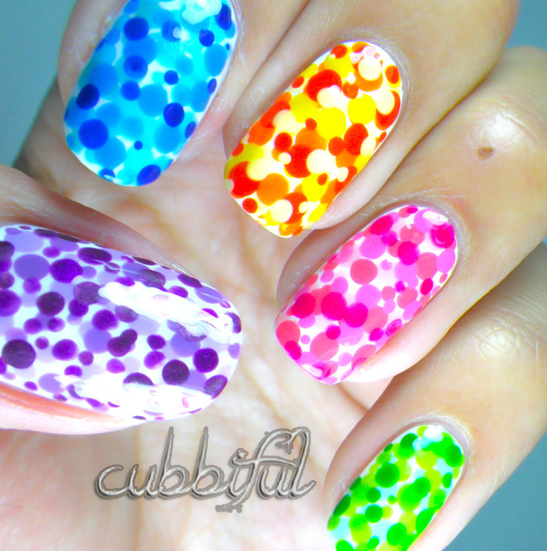Carnival Dotticure nail art by Cubbiful