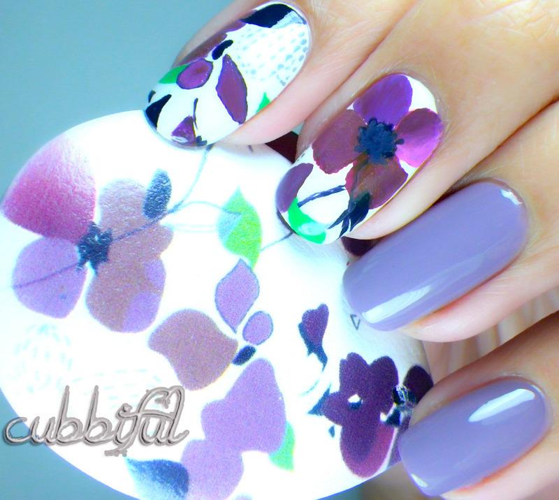 Violets! nail art by Cubbiful