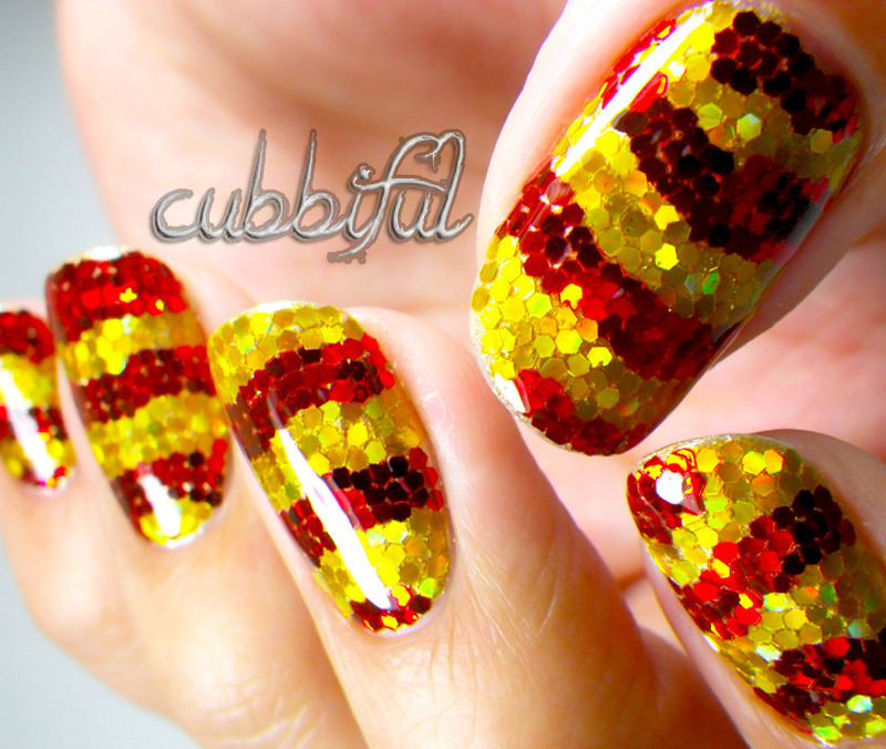 Glitter Placement nail art by Cubbiful