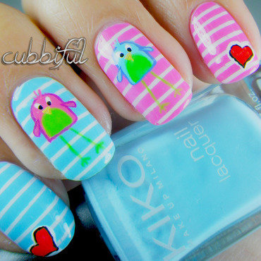 The Lovebirds nail art by Cubbiful