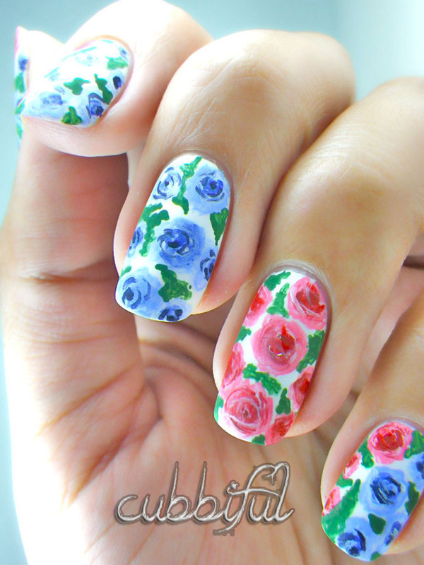 Wild Roses nail art by Cubbiful