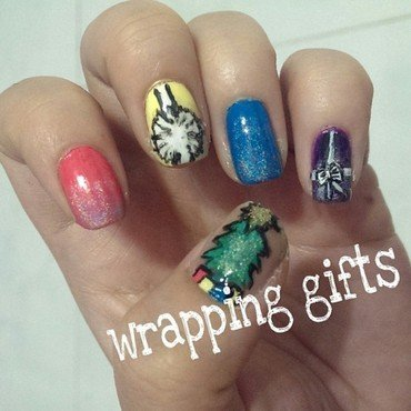 Wrapping Gifts nail art by JingTing Jaslynn