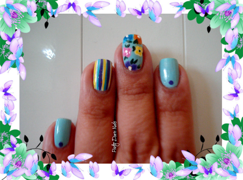 Spring Flowers nail art by PrettyDarnNails