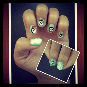 Christmas Penguins! nail art by JingTing Jaslynn