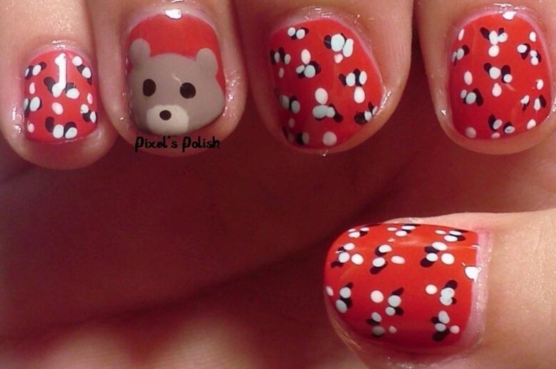 Little Bear nail art by Pixel's Polish