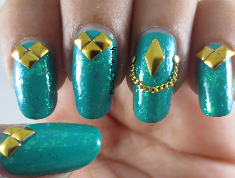 Studded Teal nail art by Pixel's Polish