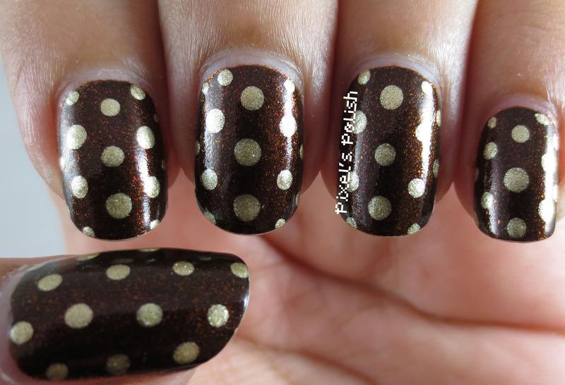 Golden Polka Dots nail art by Pixel's Polish