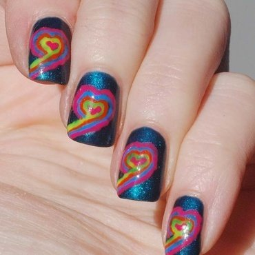 Neon Hearts nail art by Yasinisi