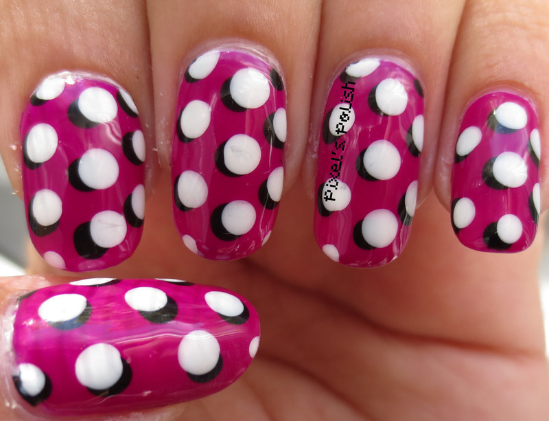 Pop Art Polka Dots nail art by Pixel's Polish