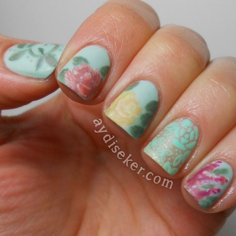 Vintage Floral & Freehand Lace Design nail art by Aydi Seker