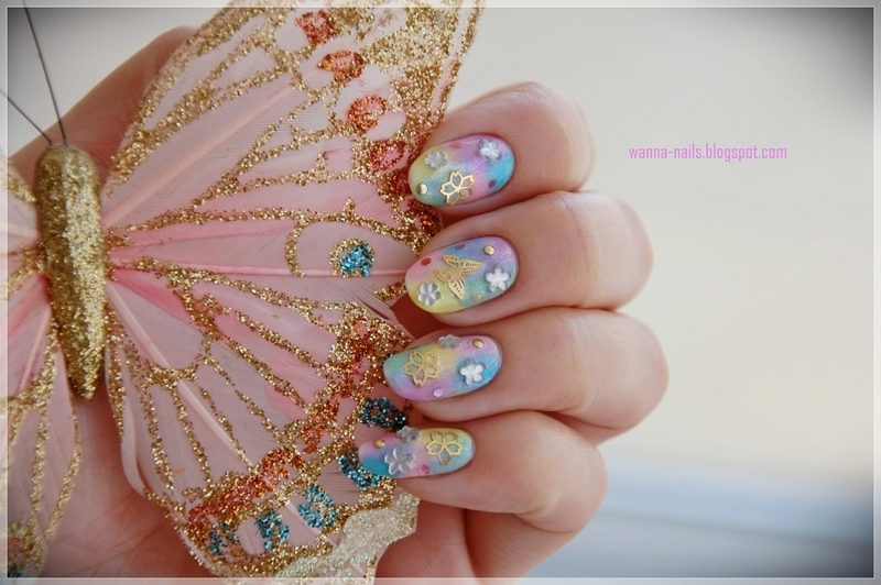 Sweet spring feeling nail art by Oana Chiciu