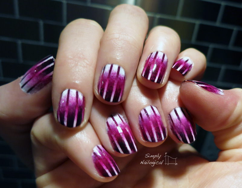 Magenta to white reciprocal gradient nail art by simplynailogical