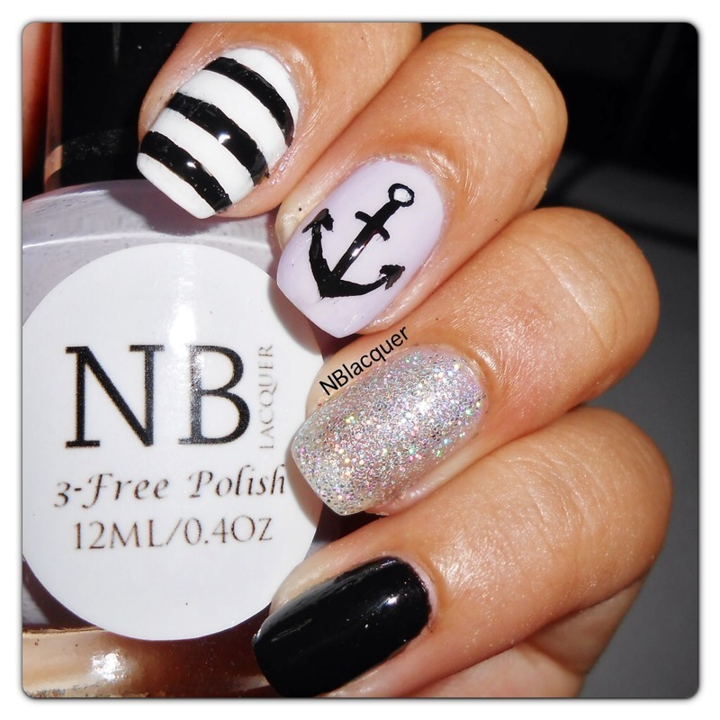 Nautical Nails nail art by Monica S.