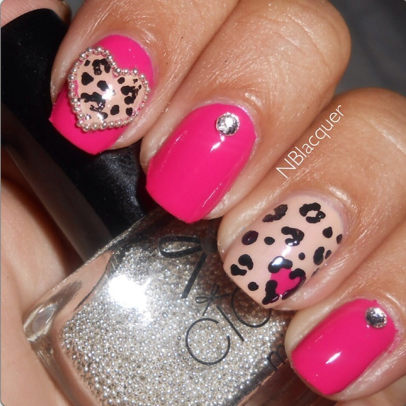 Hot pink and Beige leopard print nail art by Monica S.