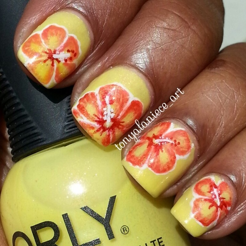 Hibiscus Flower Manicure nail art by Tonya