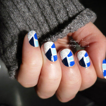 Blue colour-blocking nail art by simplynailogical