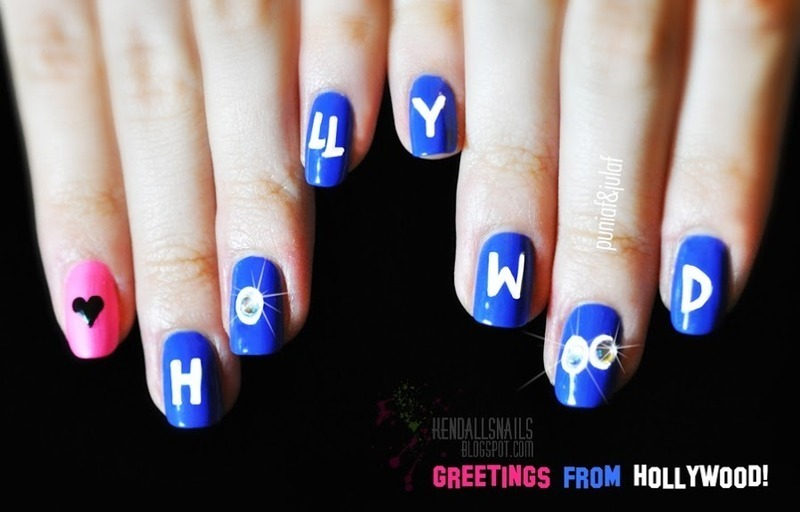 Greetings From Hollywood nail art by Julia Friedel
