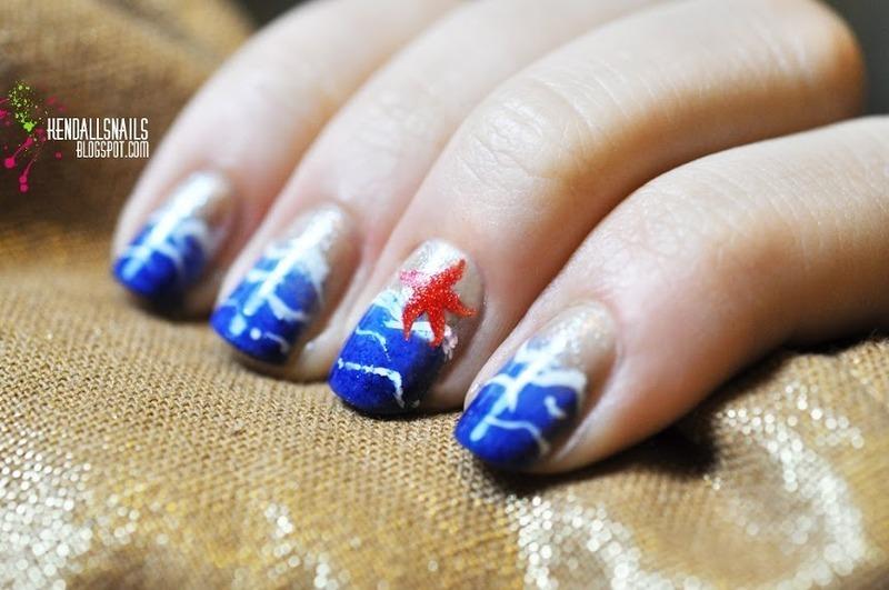 Ocean Nails nail art by Julia Friedel