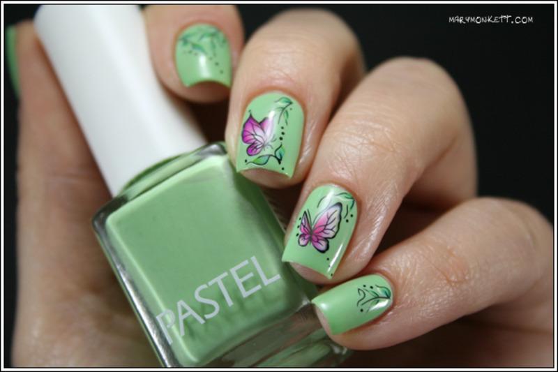 Butterflies nail art by Mary Monkett