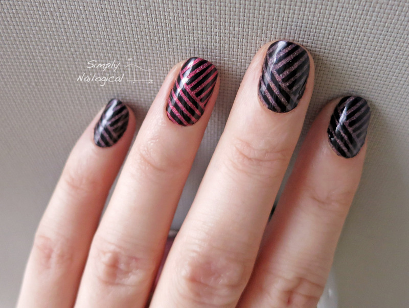 A England and black stripes nail art by simplynailogical