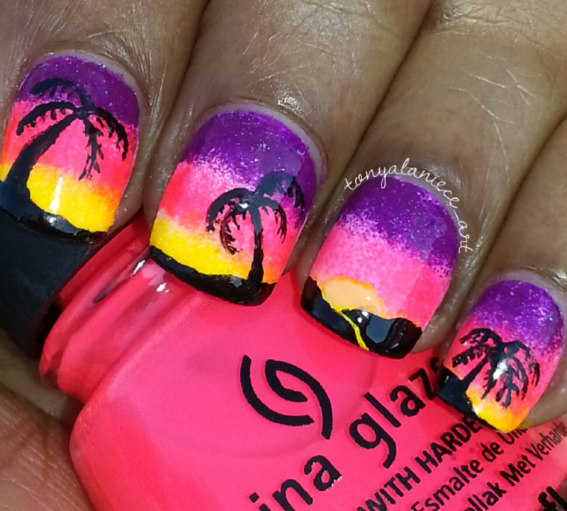 Ombre Sunset Beach Manicure nail art by Tonya