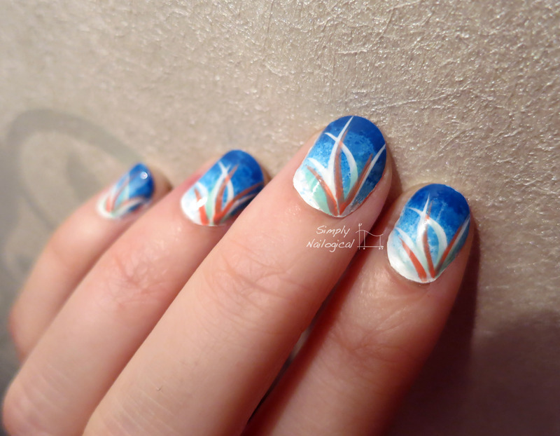 Soft blue, mint and coral looping effect mani nail art by simplynailogical