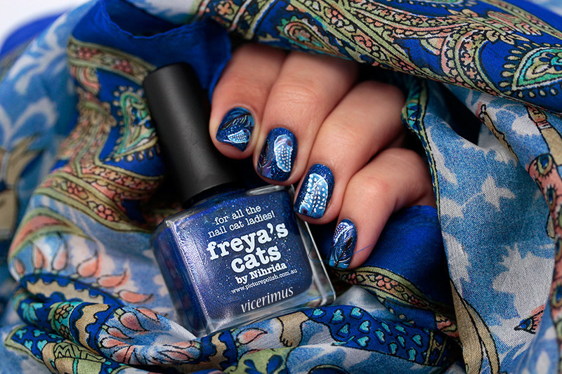 Inspired by Color. Cobalt Blue nail art by Yulia