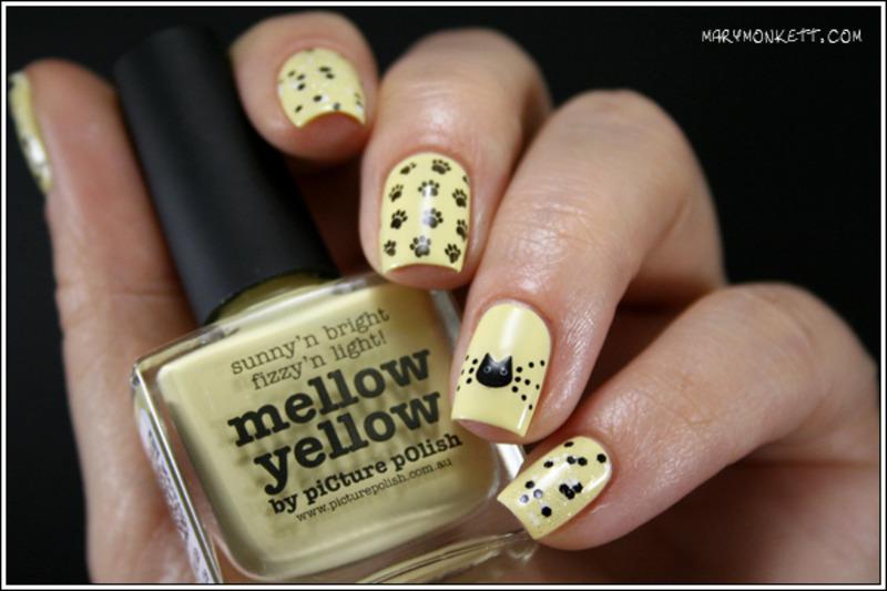 Mellow Yellow Miaouw nail art by Mary Monkett