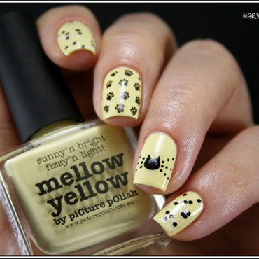 Mellow Yellow Miaouw nail art by Mary Monkett