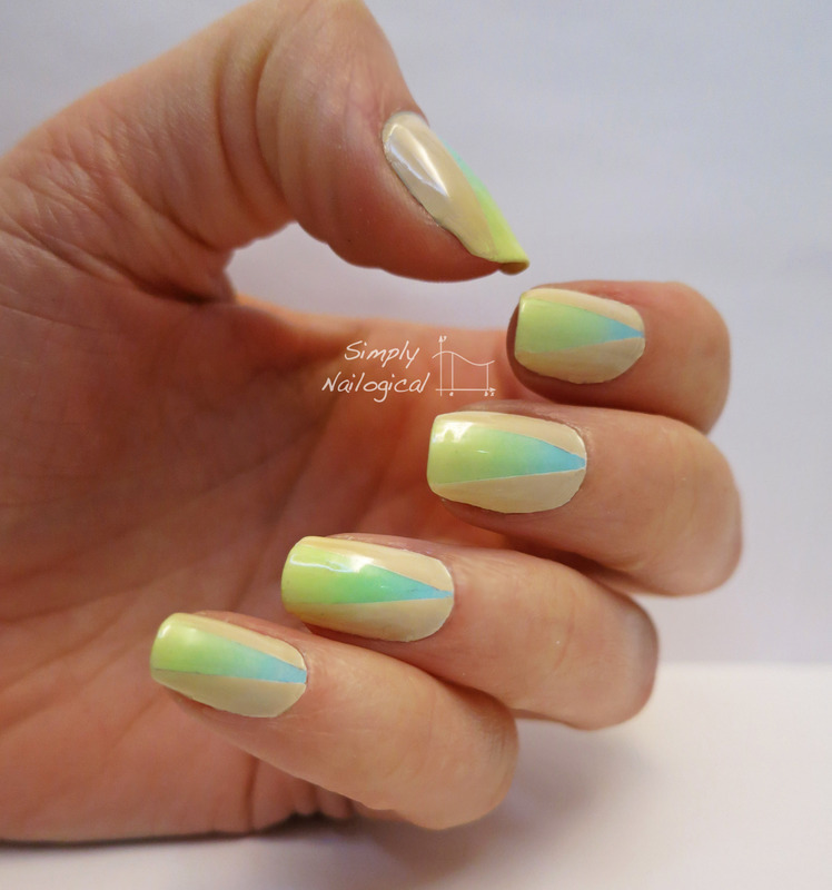 Soft neon gradient with neutral triangle nail art by simplynailogical