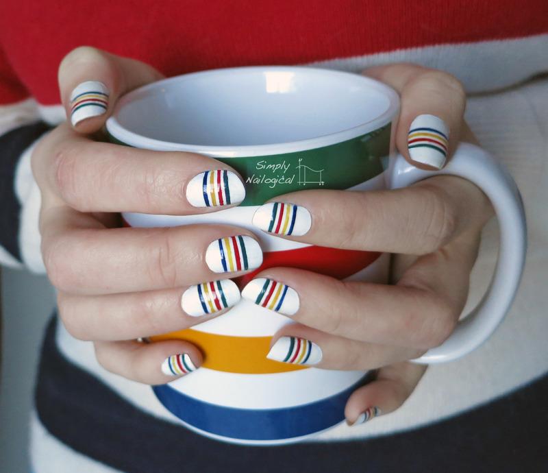 Hudson Bay nails with inspiration mug nail art by simplynailogical