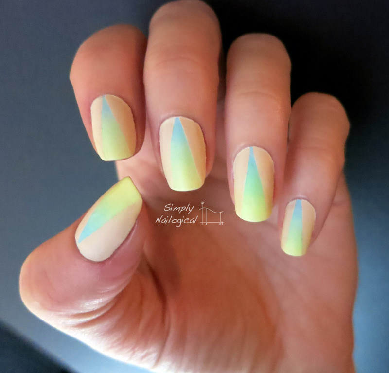 Pastel neon gradient with neutral triangle - mattified nail art by simplynailogical