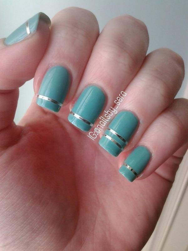 Blue & Metallic Stripes nail art by Sera Knott