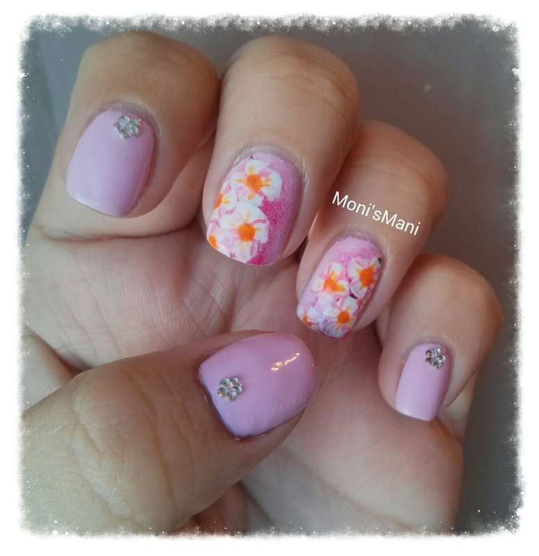 Cherry Blossom flowers nail art by Moni'sMani