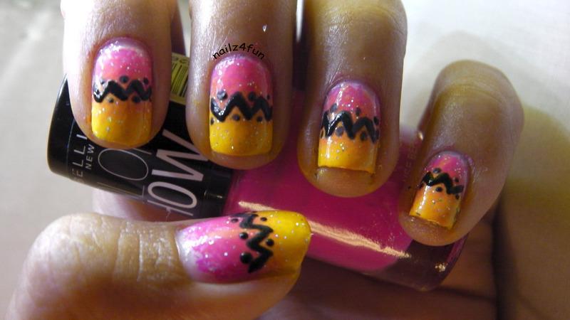 Ombre Tribal Print nail art by Nailz4fun