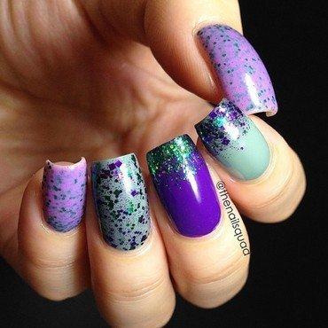 Purple & Green combo nail art by thenailsquad