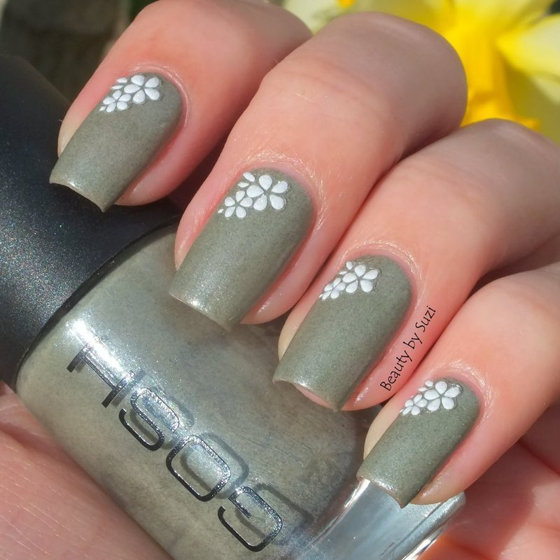 Grey and flowers nail art by Suzi - Beauty by Suzi