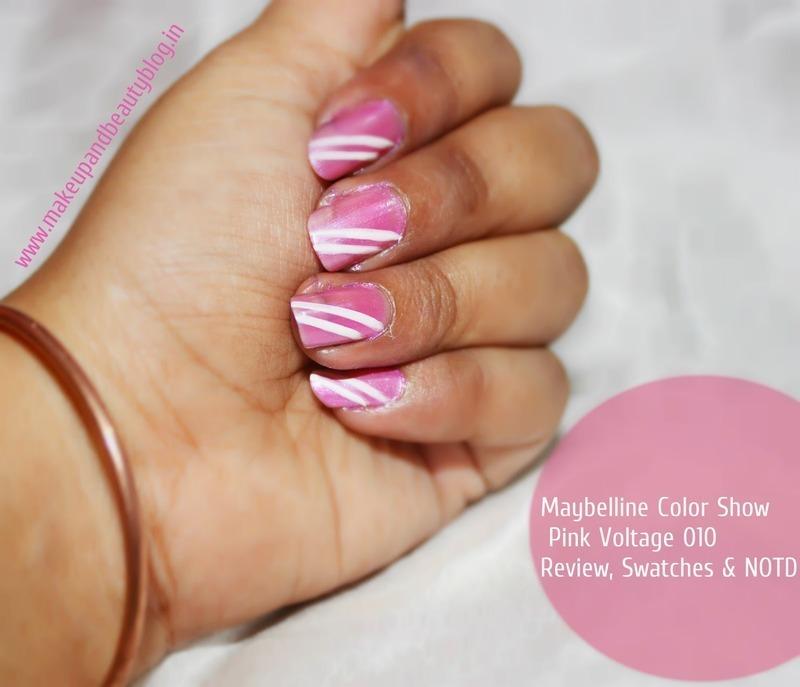 pinky stripes nail art by jayshree bhagat