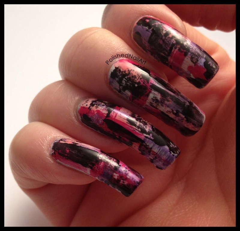 Distressed effect (non dominant hand) nail art by Carrie