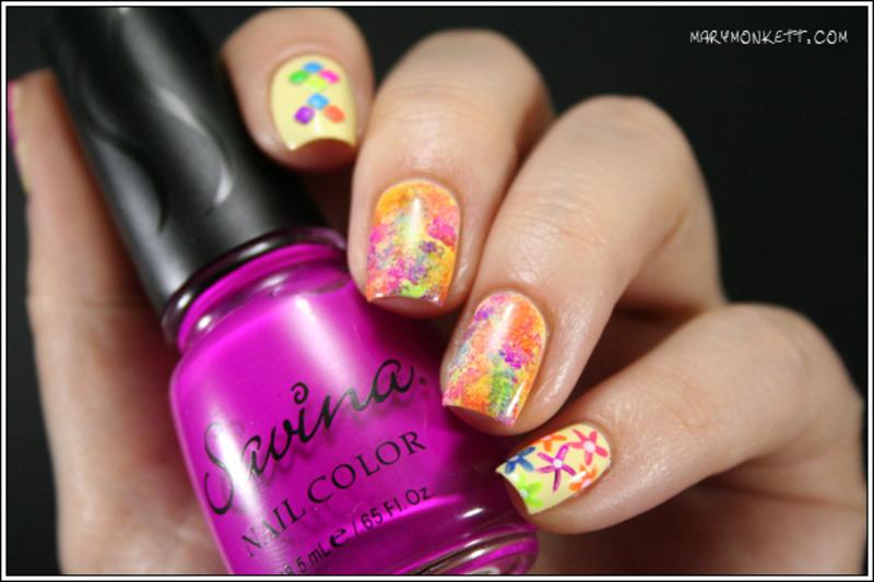 Holi Nails nail art by Mary Monkett