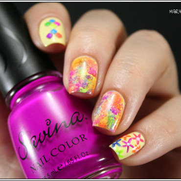 Holi Nails nail art by Mary Monkett