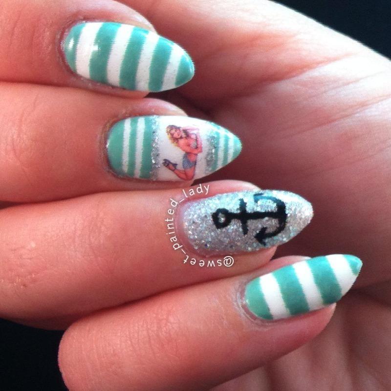 Stripy PinUp Gurl  nail art by Stacey Lee  Warren