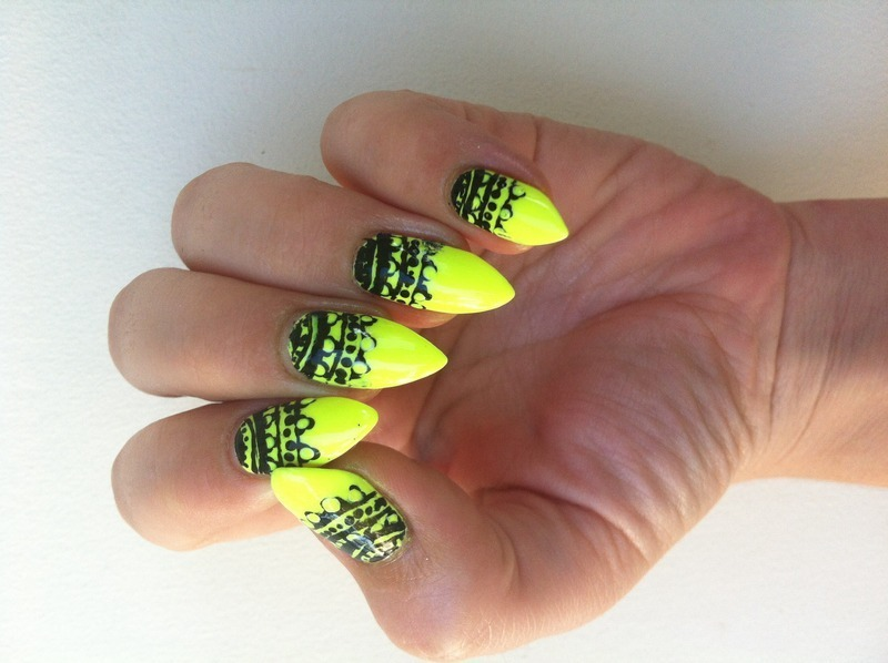 Neon Lace  nail art by Stacey Lee  Warren