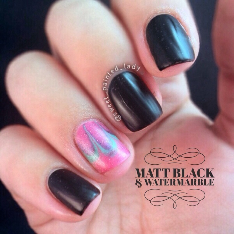 Matte Water Marble  nail art by Stacey Lee  Warren