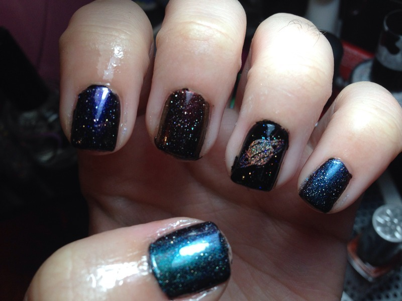 Galaxy Nails nail art by Snowwhitequ33n