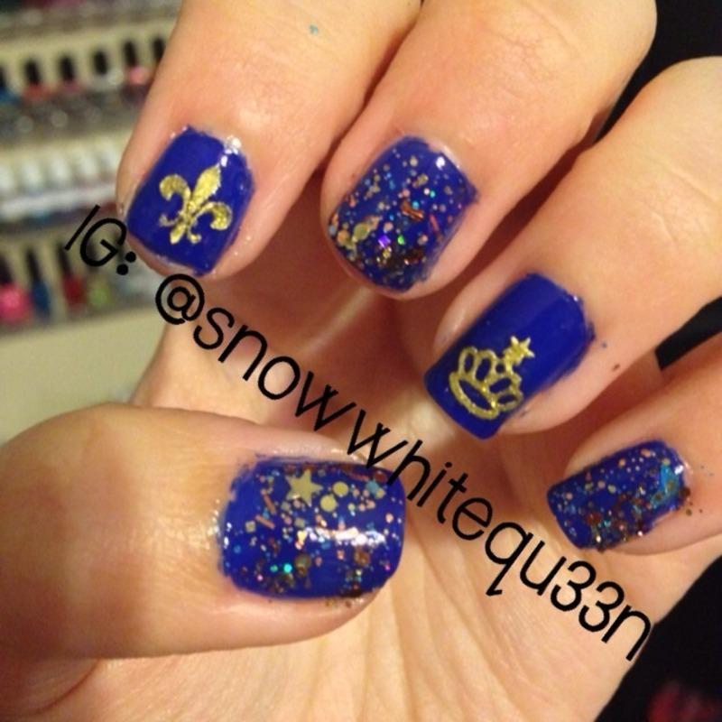 Royals nail art by Snowwhitequ33n