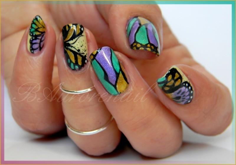 Papillons holografique nail art by BAurorenail