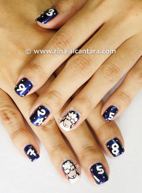 Counting Sheep nail art by Rina Alcantara